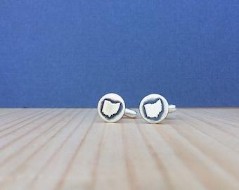 Ohio cufflinks   gift for him   groomsmen gift   cufflinks   state cufflinks   custom cufflinks