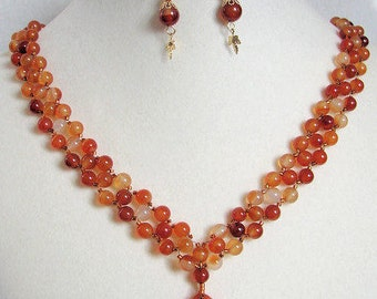 Red Agate Necklace with Earrings