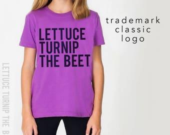 SALE lettuce turnip the beet ® trademark brand official site - ORGANIC cotton purple youth t shirt - farmers market, vegetarian, farming tee