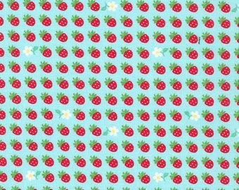 HALF YARD Sevenberry - Mini Strawberries and Daisies on AQUA 6114D3 - Classic Petites Collection - Japanese Import