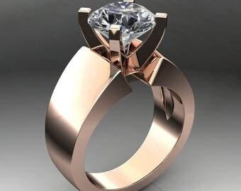cleo ring - 2.2 carat round NEO moissanite engagement ring, modern engagement ring
