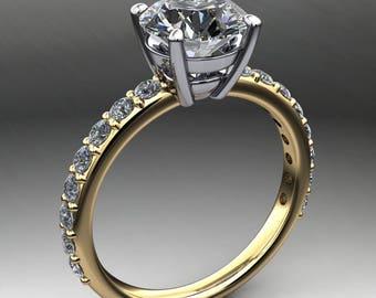 sage ring - 1.5 carat diamond cut round NEO moissanite engagement ring