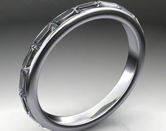 serena ring - east west ZAYA moissanite eternity band, baguette ring, 3 carats