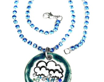 Rainy Day Sparkle Surly Necklace with Swarovski Crystals in Teal