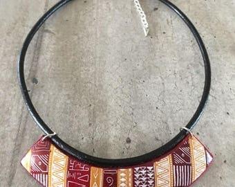 collier ras de cou torque motif azteque - bordeaux/moutarde/orangé - nouvelle collection