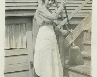 vintage photo 1918 Our Hired Girl Young Lady APron w Broom Sweeps Steps