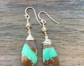 Mint Green and Chocolate Chrysoprase Earrings with Thai Silver and Rose Gold Accents