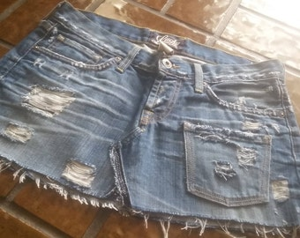 Hippie distressed denim mini skirt