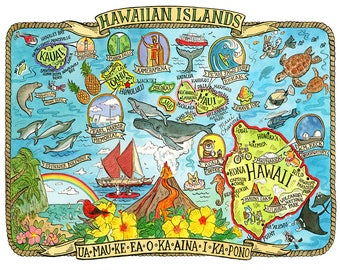 "Hawaii Islands State Map 11""x14"""