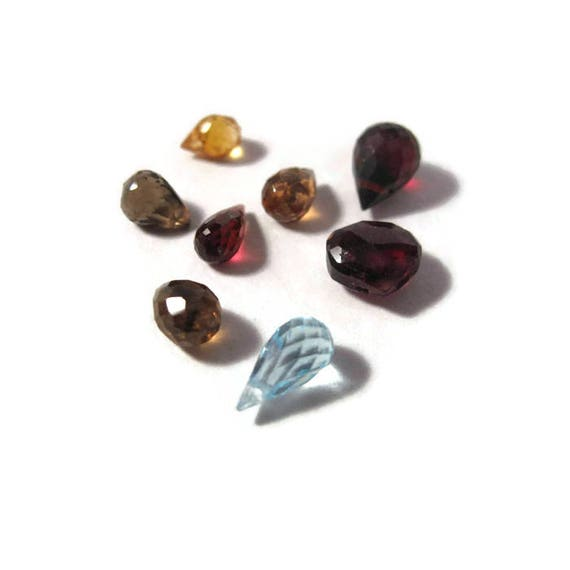 Briolette Grabs : Mixed Lot of 8 Gemstone Beads for Making Jewelry Blue Topaz, Citrine, Rhodolite, Garnet & Smoky Quartz (L-Mix21e)
