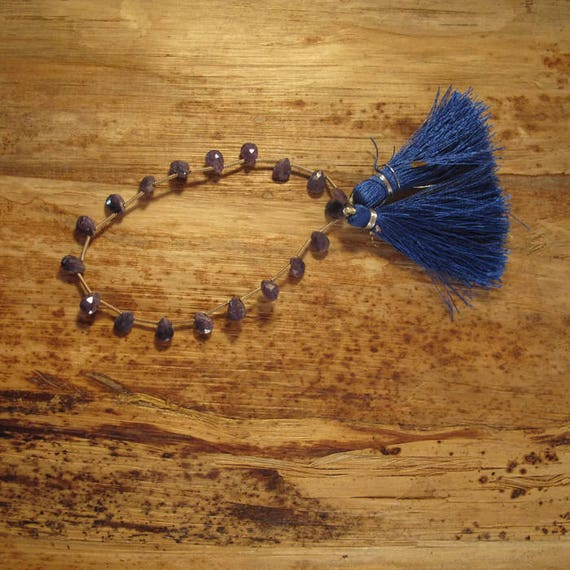 Dusty Blue Sapphire Beads, 6 Pear Shaped Briolettes, Faceted Gemstones, 6 Blue Gemstones, 8mm x 6mm - 9mm x 6mm (B-Sa2d1)