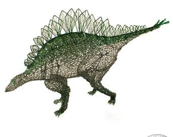 Stegosaurus Dinosaur Gunmetal and Emerald Wire and Beaded Sculpture