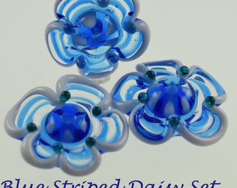 Lampwork Blue & White Striped Daisy Beads