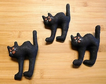 Halloween Black Cats Ornaments Primitive Bowl Fillers Fall Holiday Decorations