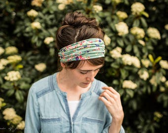 Sea Cottage Floral STRETCH Headwrap    Garlands of Grace headband headcovering hair wrap