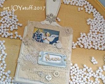 CHRISTMAS mini breadboard - decoration - wall hanging - shelf sitter - angel - PEACE - NO086