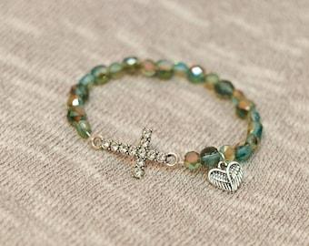 Cross bracelet, cross charm bracelet, green bead, angel wings charm, stack bracelet, stack jewelry, boho, gift for her, cross jewelry, angel