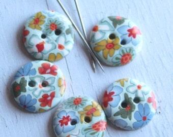 Polymer clay buttons, handmade buttons, set of buttons, flower buttons, sweet buttons,colorful buttons, light blue buttons,Knitting Supplies