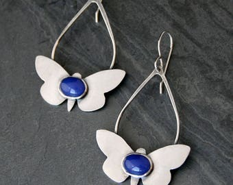 Blue Agate Butterfly Earrings Sterling Silver Dangle Earrings Cabochon Gem Statement Summer Festival Wing Butterfly Dance Large Dangle Hoop