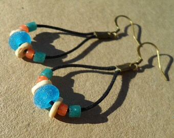 Handmade lampwork glass bead earrings- beach style rustic aqua beads with african trade beads and seed beads on cotton cord