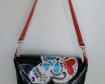 Sugar skull handbag black metalflake vinyl w white sugar skull red hearts and light blue vinyl eyes