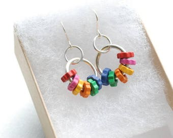 Colorful Funky Earrings, Wooden Gears, Rainbow Earrings, Wood Earrings, Dangle Earrings, Multi Color Earrings, Sterling Silver - Colorfall