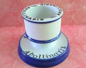 Vintage French Apollinaris Ceramic Match Holder / Striker / Safe
