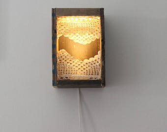 Lace light box - Ambient Light - Bohemian One of A Kind Lighting - Soft LED lighting - Art Light