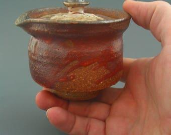 Shiboridashi Teapot (160ml.), wood-fired iron rich stoneware w/ shino, celadon and natural ash glazes