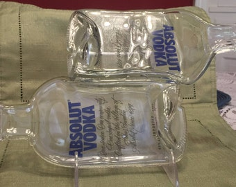 Double Absolut Vodka Bottle Slumped Tray, Cheese Tray, Melted Bottle, Spoon Rest, Serving Tray