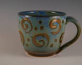 Pottery Mug in Blue and Bronze