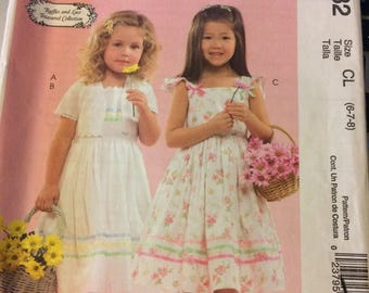 UNCUT McCall's 5032 Girls' Jacket Dress Size 6-7-8  Uncut Complete Party Dress