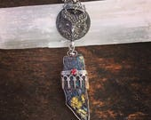 Peacock Ore Owl Necklace Sterling Silver Ruby