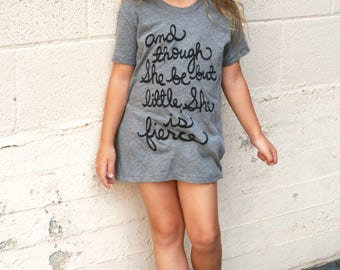 And though She be but little, She is fierce. Girls T-shirt, Shakespeare Quote, Back To School.  MADE TO ORDER