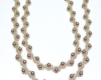 bronze pearl necklace,bronze beaded necklace,bronze pearl beaded necklace,bronze pearl necklace,wedding, bridesmaid gift