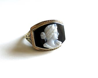 Gorgeous Antique Carved Cameo 14K Gold Ring - Beautiful Ornate Curved Pierced Setting with Butterfly Shoulers - Circa 1900