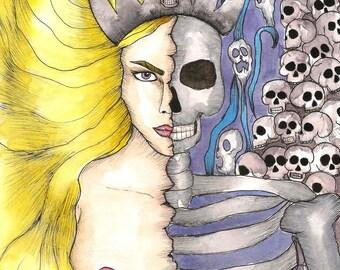 Pagan Art Norse Goddess Hel Art Print Nordic Goddess Hela Art Dark Goddess Divine Feminine Asatru Magick Occult Fantasy Art Spiritual