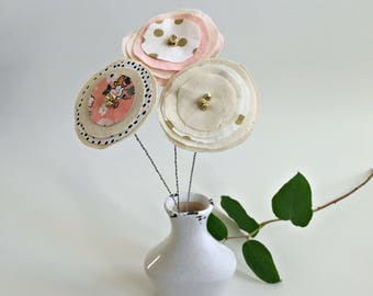 modern, urban fabric scrap, paper flowers, faux fake contemporary fabric flower just because stem bouquet, stitched sewn flowers - 3