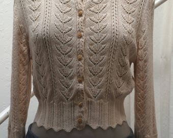 Charming  Upcycled Open Weave Sweater Size Medium