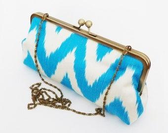 Clutch bag, ikat fabric, turquoise blue and white chevron ikat design, silk evening purse
