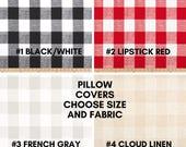 Schwarz Rot Grau Leinen weiß karierten Buffalo überprüfen Kissenbezug - unsichtbarer Reißverschluss, Bauernhaus Stil Kissenbezug - Check Kissenbezug