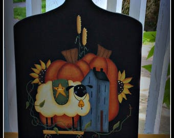 Primitive Fall Wood Pumpkin Sheep Autumn Cutting Board  Kitchen Home Decor Wall Art