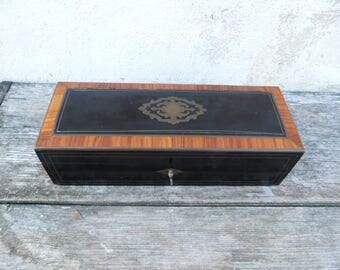 Antique 1890s Victorian French inlay rose wood marquetry trinket box case /Gloves box