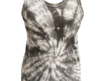 The Swirl black tie dye batik racer back slouch tank oversize shirt long by agoraphobix