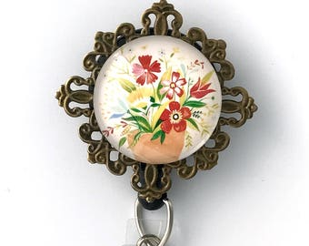 Flowers on Antique Brass Filigree ID Badge Holder - Clip-On or Magnetic Badge Reel = 352