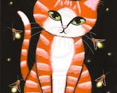 Ginger Tabby and Fireflies Original Cat Folk Art Painting