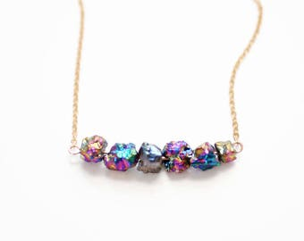 Titanium Druzy Nuggets Necklace - 14k Gold Filled | Sterling Silver