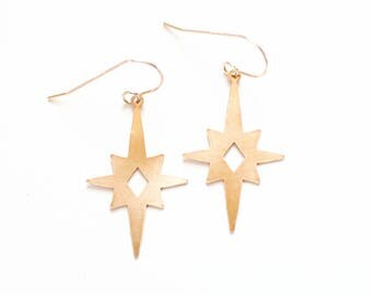 Midcentury Atomic Starburst Earrings | Brass Earrings | 14k Gold Filled Earrings | Sterling Silver Earrings | Vintage Inspired