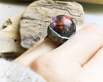 artisan ring sterling silver Basha electric red gold lampwork glass bead 7  My electric garden