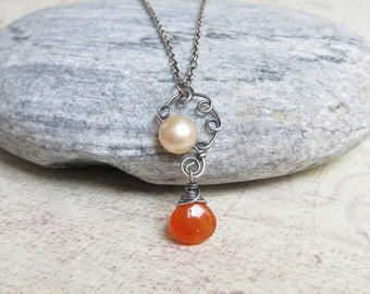 Carnelian Necklace, Peach Pearl, Orange Gemstone Pendant, Sterling Silver, Wire Wrapped Jewelry